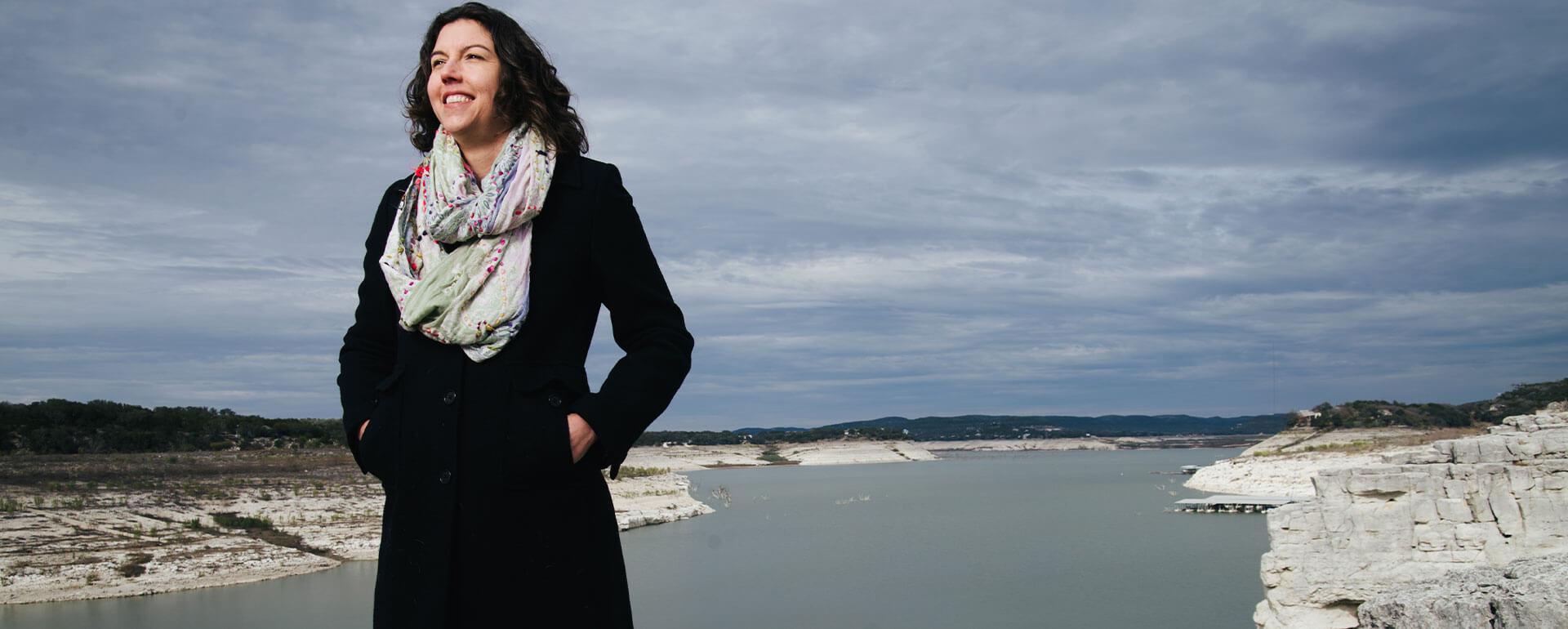 Amy Hardberger at Medina Lake.