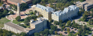 St. Mary's University aerial view featuring St. Louis Hall, Chaminade Hall, Charles Francis, and the Bell Tower