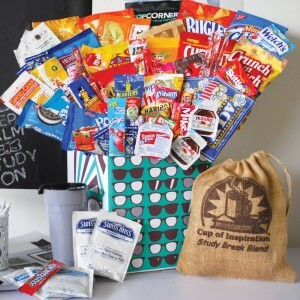 Care package with chips, cocoa mix, coffee and other snacks