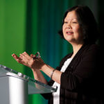 Carolyn Woo speaks at the Lin Great Speakers Lecture Series