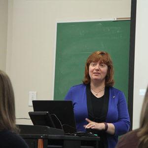 Political science professor teaching class