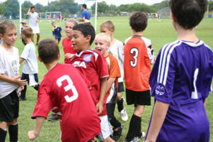 Young soccer players at San Antonio soccer camp