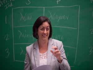 Allison Gray,Ph.D., teaching class