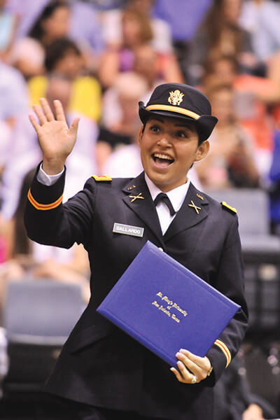 A female cadet at commencement