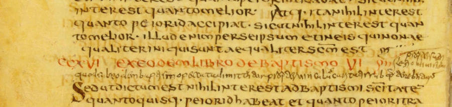 A conventional photograph of a page from the Jubilees palimpsest, which was first written in the 150s B.C. but erased and written over in the eighth century. Notice the barely detectable text behind the black ink.