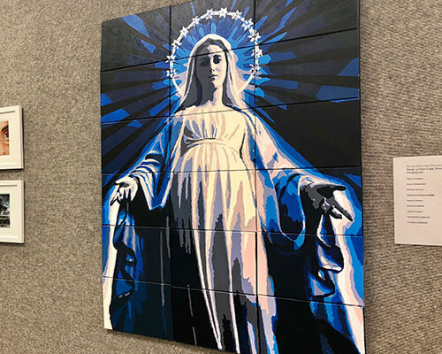 Painting of the Virgin Mary on canvas by St. Mary's art students in the Blume Library, Art Gallery