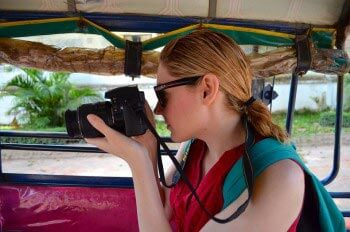 Christina Ekleberry on safari with camera in hand