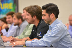 MBA students in the trading room