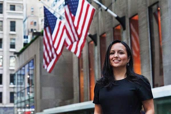 Judy Reyes outside the Rockefeller Center in New York City