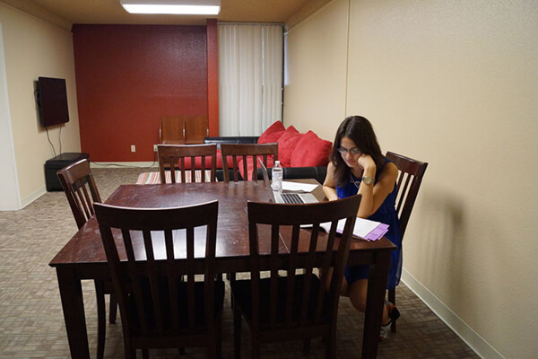Study lounge in Lourdes Hall