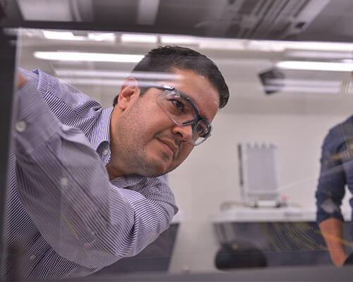 Juan Ocampo, Ph.D., in lab.