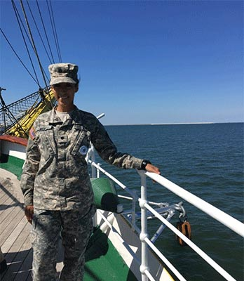 ROTC student, Courtney Keif, aboard the Romanian training ship Mircea, Sailing out on the Black Sea