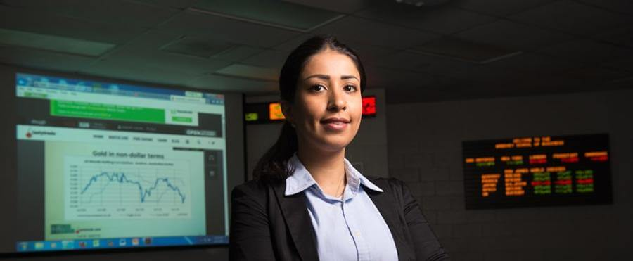 Female student in the trading room