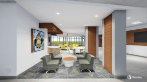 3-D rendering of inside the new residence hall in The Village.