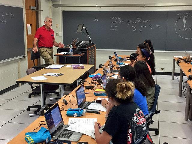 A computer science professor teaches the Girls Code Summer Camp