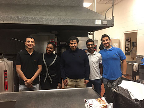 Engineering students at Meals on Wheels.