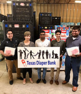 Engineering students at the Texas Diaper Bank.