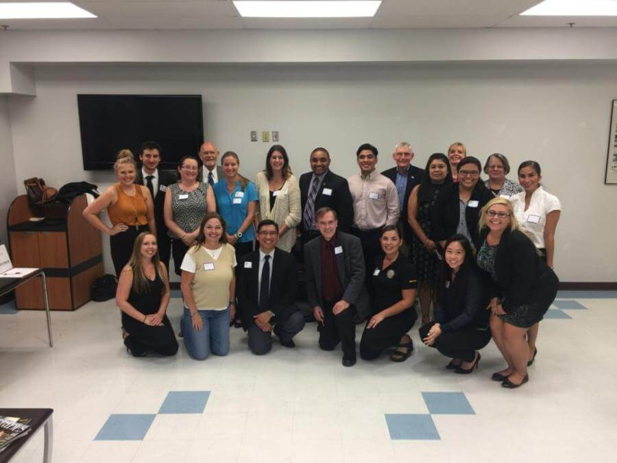 St. Mary's Law students, along with Prof. Gerry Reamey, are pictured at a Community Justice Program's program at Audie Murphy VA Hospital.