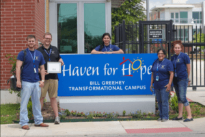 Students and staff at Haven for Hope, where the Center for Legal and Social Justice serves as a partner, providing legal services, identification recovery assistance, and warrant relief clinics.