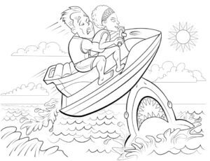 Jetski page from coloring book