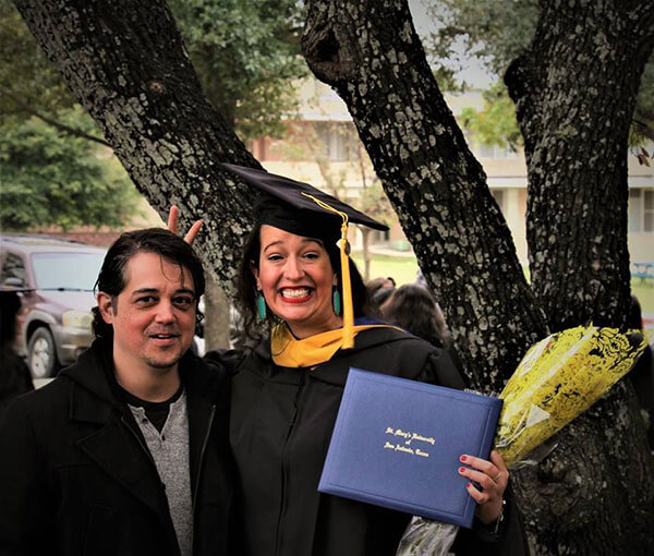 Robert Gray and Claire Seiffert at Commencement.