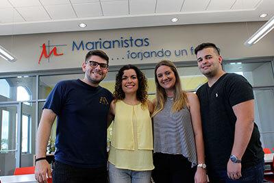 St. Mary's students Mei-Ling Camacho Acevedo, David Pagán, Paola Díaz Portela and Andrés Palacios meet over Christmas break inside Colegio San José.