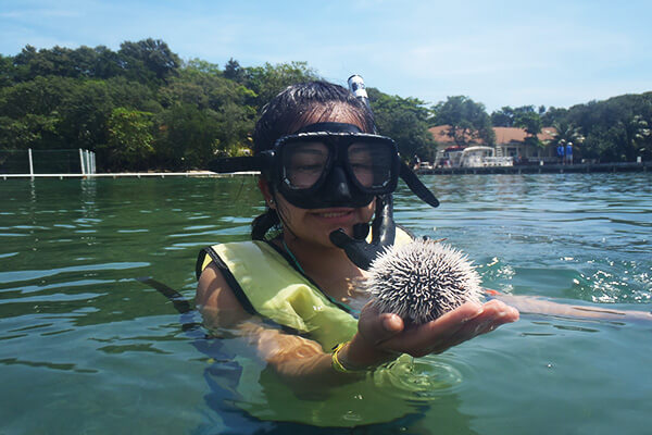 A female student in snorkeling gear holds up a sea urchin