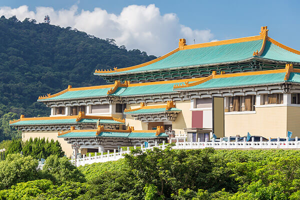 Ornate turquoise and gold rooftops in Taiwan