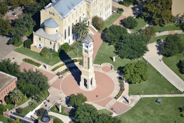 Aerial view of the bell tower and Reinboldt Hall