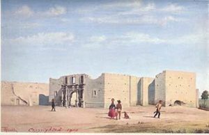 Gentilz painting of the Alamo in ruins