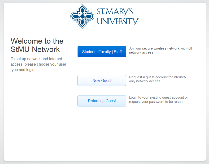 StMU Wifi dialog displaying New Guest option