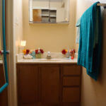 A bathroom in Frederick Hall, featuring an exterior sink and dressing area, with a separate shower and toilet area