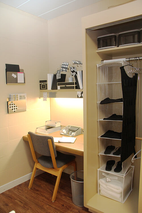 Room interior featuring student desk and closet with organizer