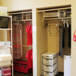 View of two side-by-side closets in a Founders Hall room