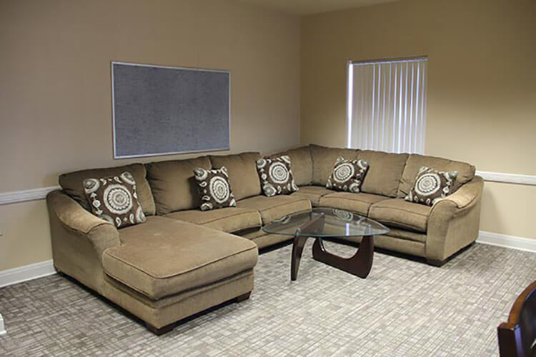 Inviting sectional sofa in Leies Hall lounge