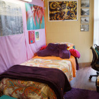Typical Treadaway Hall dorm room with a twin bed and desk