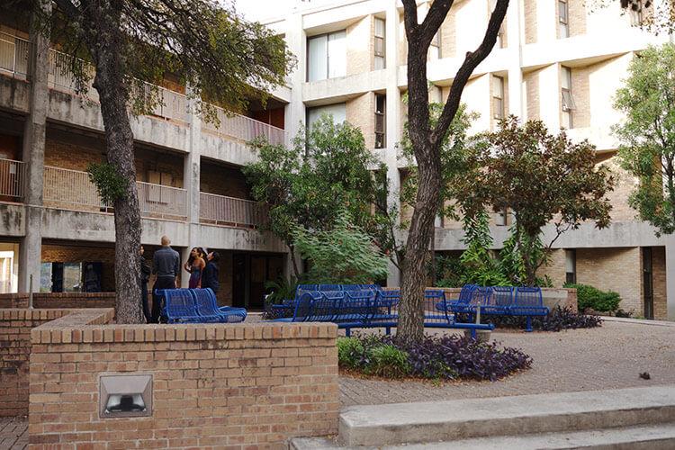 Large shaded courtyard at Treadaway Hall