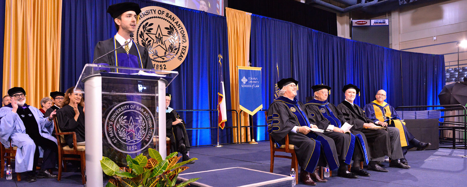 John Brown speaks at the 2019 Law Commencement.