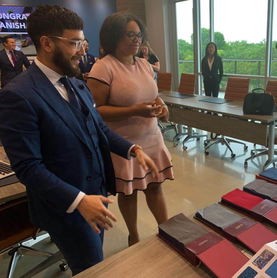 3L Tanisha Taylor receives a custom-tailored suit from law firm Patel Gaines.
