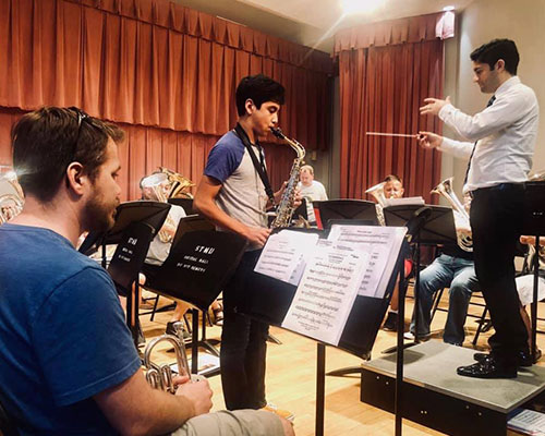 Seth Sandoval rehearses with the San Antonio Brass Band.