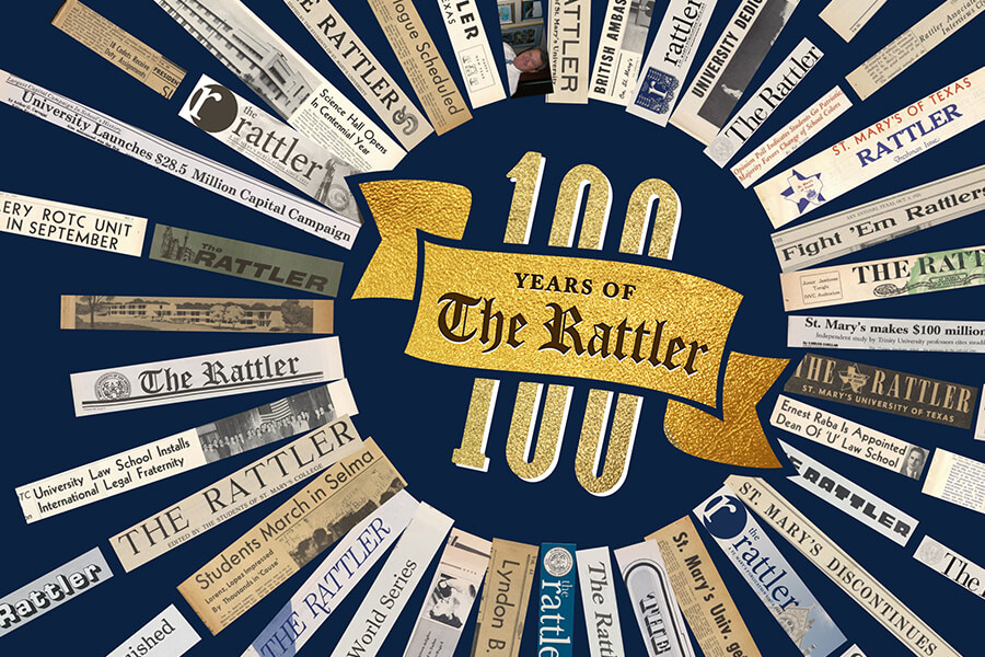 100 Years of The Rattler. A collage of historic and recent Rattler news clippings honor the century of publication.
