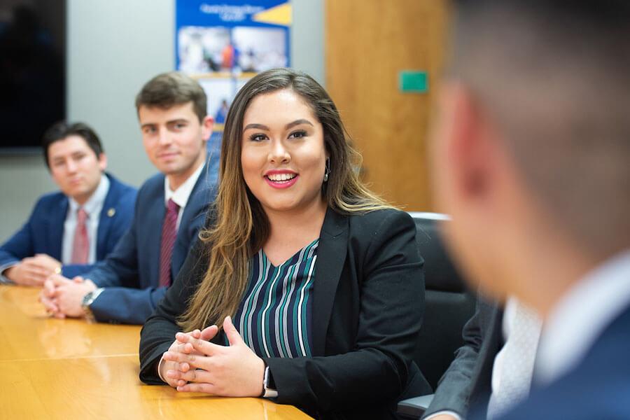 Fernanda Sandoval is in a School of Business class.
