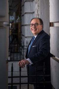 Ramiro Cavazos, president and CEO of the United States Hispanic Chamber of Commerce, stands outside his office in Washington, D.C.