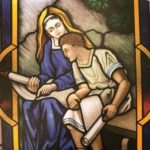 Stained glass window of Mary teaching Jesus, Chapel of the Immaculate Conception, University of Dayton