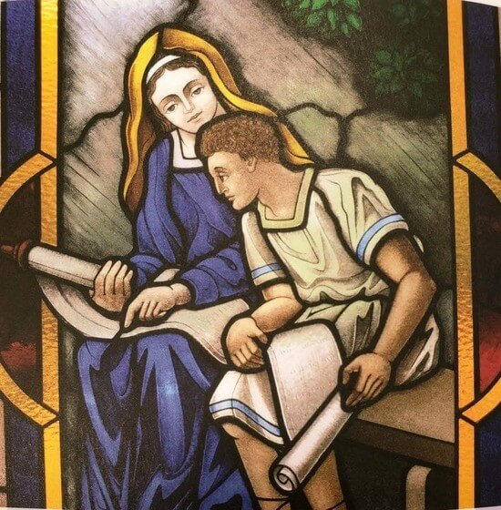 Stained glass window of Mary teaching Jesus Chapel of the Immaculate Conception University of Dayton