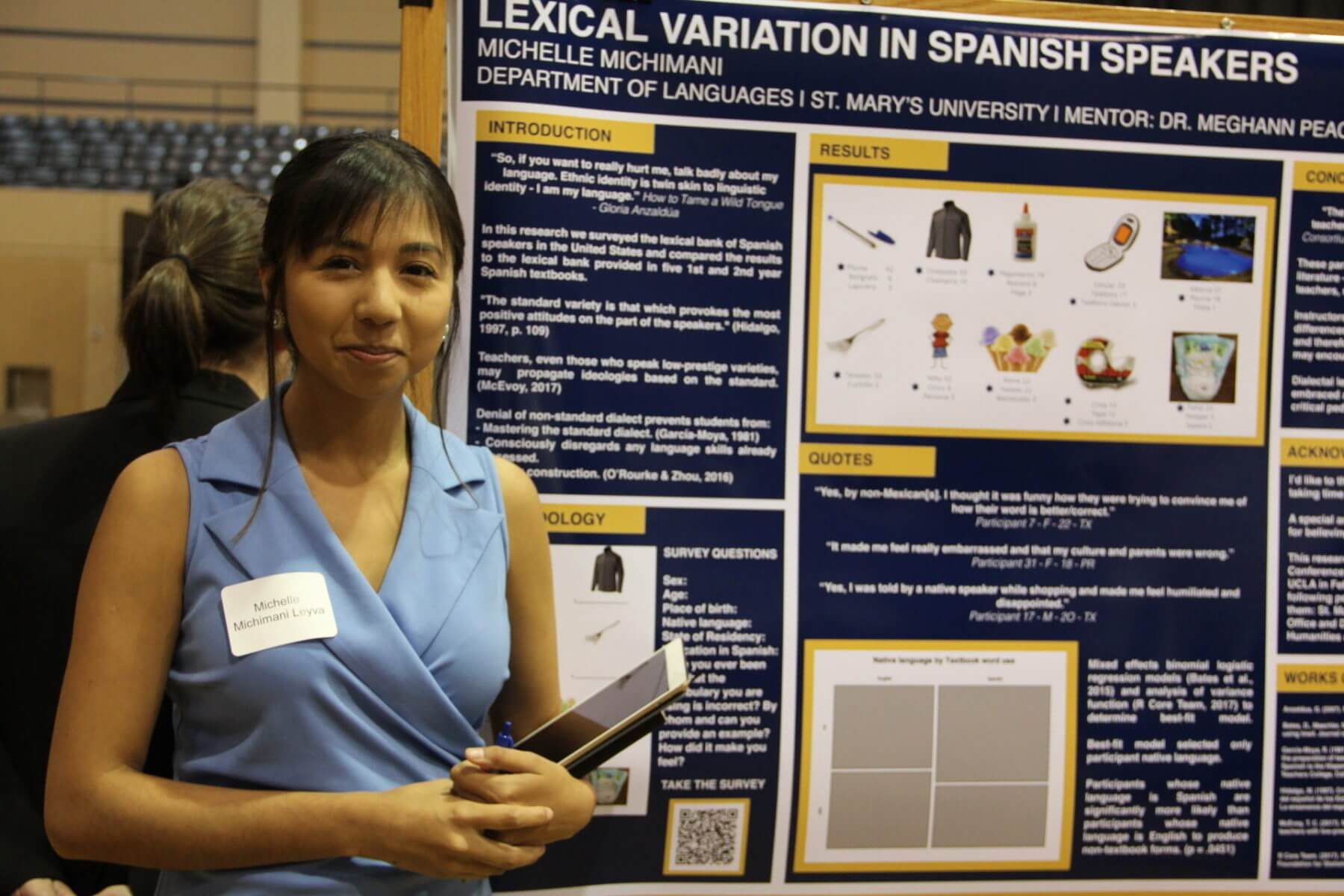 Student presents a research poster about Spanish speakers
