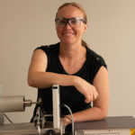 Amber McClung, Ph.D., in mechanical engineering lab