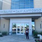 Anabel Korrodi, Accounting major, stands outside Bank of San Antonio