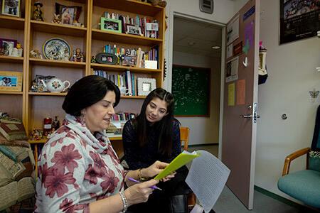 Diane Gonzalez Bertrand and student