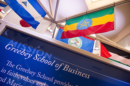 Greehey School of Business flags